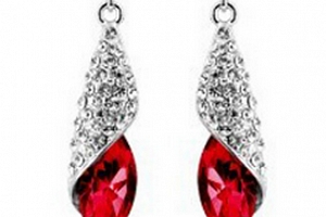 Ziskoun náušnice Long Drop Earrings- silver CE000037 Barva: Červená...
