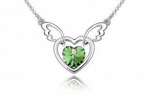 Ziskoun řetízek s přívěskem létajícího srdce PN00005 Barva: Zelená...