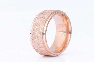 Prsten z pískované chirurgické oceli- bronzový SR00011 Velikost: 10...