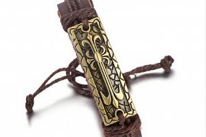 Náramek z pravé kůže s ornamentem z chirurgické oceli SSB00051 Barva: Bronzová...