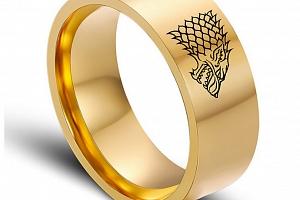 Zlatý prsten z chirurgické oceli se Stark house z Games of Thrones-Hra o trůny SR000066 Velikost: 10...