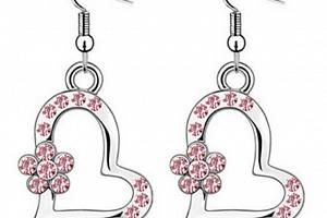 Ziskoun náušnice ve tvaru srdce s kytičkou CE00007 Barva: Růžová...