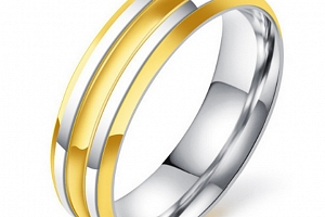 Prsten z chirurgické oceli Decent stříbrnozlatý SR000016 Velikost: 9...