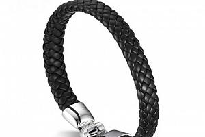 Ziskoun náramek z pravé kůže a chirurgické oceli CB000063 Barva: Černá...