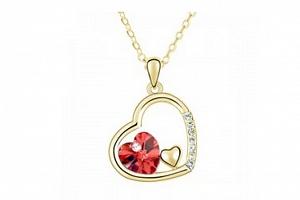 Ziskoun řetízek s přívěskem trojitého srdce PN00018 Barva: Červená...