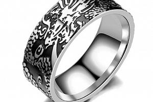 Prsten z chirurgické oceli Dark Devil- stříbrnočerný SR000069 Velikost: 10...