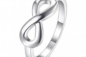 Prsten nekonečno z rhodiované bižuterie ve stříbrném provedení- Infinity SR000050 Velikost: 10...