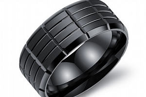Pánský prsten z chirurgické oceli- černý Army SR000020 Velikost: 10...