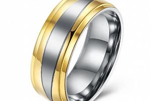 Prsten z chirurgické oceli stříbrnozlatý SR000015 Velikost: 10...