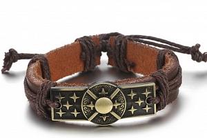 Náramek z pravé kůže s motivem z chirurgické oceli SSB00044 Barva: Bronzová...