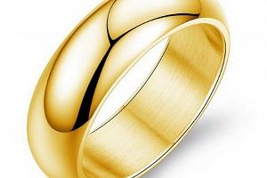 Prsten kroužek Classic II z chirurgické oceli- zlatý SR00013 Velikost: 9...