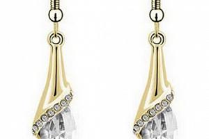 Ziskoun náušnice se zirkony Dangel gold CE00004 Barva: Bílá...