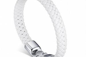 Ziskoun náramek z pravé kůže a chirurgické oceli CB000063 Barva: Bílá...
