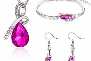 Ziskoun set náušnic, řetízku s přívěskem a náramku Bangles CS000010 Barva: Růžová...