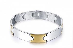 Stříbrnozlatý náramek z chirurgické oceli ON9...