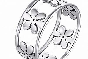 Dámský prsten z chirurgické oceli s květinami- stříbrný SR000033 Velikost: 10...