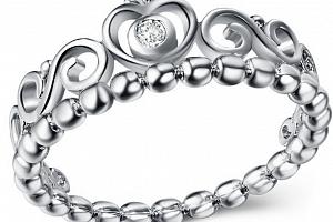 Dámský prsten se srdíčky a zirkonem z rhodiované bižuterie SR000060 Velikost: 10...