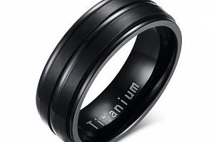 Černý prsten z kvalitního Titanu SR000078 Velikost: 7...