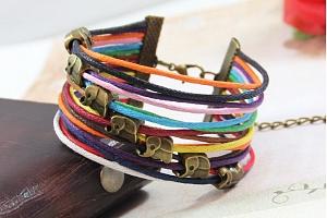 Náramek z pletených provázků se slony pro štěstí SSB00020...