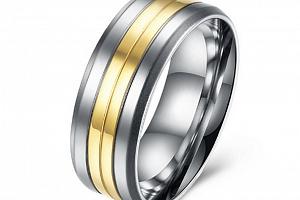 Prsten z chirurgické oceli Coloro- stříbrnozlatý SR000017 Velikost: 7...