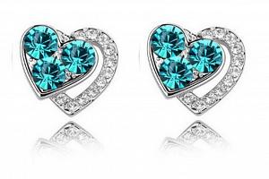 Ziskoun náušnice Heart shaped- silver CE000023 Barva: Tyrkysová...