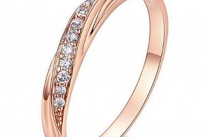 Decentní bronzový prsten se zirkony z rhodiované bižuterie SR000061 Velikost: 10...