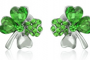 Ziskoun náušnice ve tvaru čtyřlístku pro štěstí CE000020 Barva: Zelená...