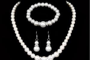 Ziskoun plesový set náušnic a náhrdelníku se zirkony a perlami CS000061...