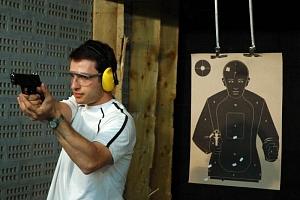 Střelba na kryté střelnici...