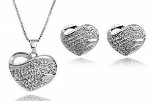 Set náušnic a řetízku s přívěskem Heart z rhodiované bižuterie se zirkony CS000066...