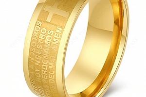 Zlatý prsten z chirurgické oceli s křížem a modlitbou SR000089 Velikost: 7...
