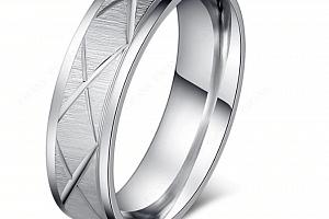 Masivní prsten z rýhováním z chirurgické oceli- stříbrný SR00080 Velikost: 7...