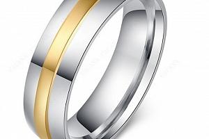 Stříbrnozlatý prsten z chirurgické oceli Gold Line SR000085 Velikost: 7...
