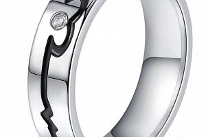 Stříbrný prsten černá křivka EKG z chirurgické oceli se zirkonem SR000107 Velikost: 11...
