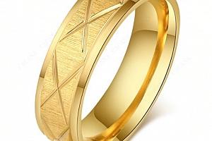 Masivní prsten z rýhováním z chirurgické oceli- zlatý SR00081 Velikost: 11...