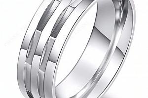 Stříbrný masivní prsten hranatého vzhledu z chirurgické oceli SR000090 Velikost: 11...