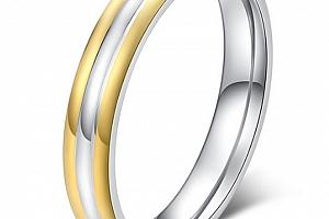 Dámský prsten Triple Line stříbrnozlatý z oceli SR000098 Velikost: 10...