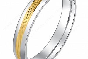 Decentní prsten stříbrný se zlatým rýhováním z chirurgické oceli SR000086 Velikost: 10...