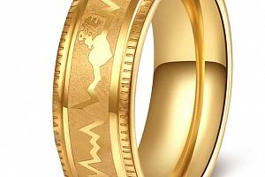Prsten z chirurgické oceli křivka EKG- zlatý SR000114 Velikost: 10...