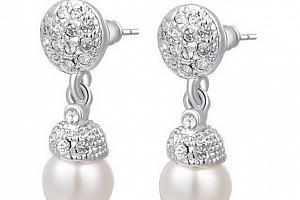 Náušnice z rhodiované bižuterie s perlou CE000047...