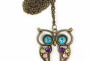 Vintage náhrdelník s přívěskem sovy PN000170...