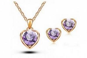 Srdíčkový set šperků se zirkony z rhodiované bižuterie- gold CS000077 Barva: Fialová...