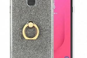 Silikonový lesklý zadní kryt pro Samsung J8-2018 se stojánkem PZK19 Barva: Šedá...