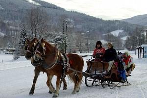 Jarní prázdniny v Pensionu Jízdárna v Beskydech s vířivkou, vyjížďkou na koni a dětmi zdarma...