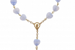 Auto - růženec ze skleněných mačkaných perlí v barvě modrý proužek....