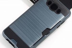 Bezpečnostní zadní ochranný kryt s přihrádkou na kartu pro Samsung J7-2016 Barva: Modrá...