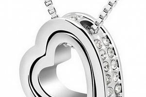 Ziskoun řetízek s přívěskem Double hearts silver PN000083 Barva: Fialová...