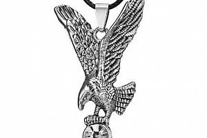 Náhrdelník s přívěskem Orla z chirurgické oceli a čirým zirkonem PN000173...