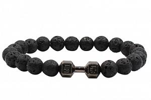 Ziskoun náramek z lávových kamenů black CB000040 Barva: Černá...