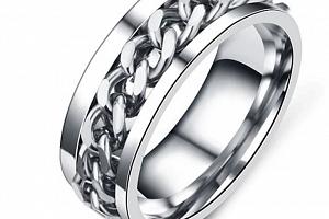 Prsten z chirurgické oceli s řetězem- stříbrný SR126 Velikost: 7...